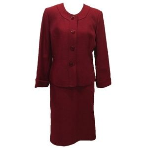 Evan Picone Size 12 Suit Blazer Skirt Red Solid